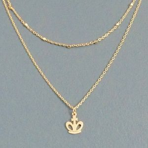 NWT layered CROWN gold necklace, dainty tiny small